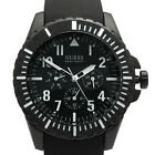 Guess Men's Watch Rogue S/Steel Date Silicone Rubber Strap Black W10261G1