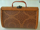 RARE VINTAGE BOX BAG WITH EMBOSSED LEATHER AND CARVED WOOD V96