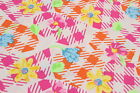 Bright Bold Midweight Crisp Cotton Floral Print Sewing Fabric Material 1 1 2 Yds