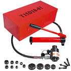 15 Ton 4 Hydraulic Knockout Punch Driver Kit 10 Dies Hole Case 11 14 Gauge Tool
