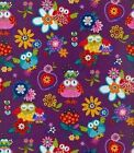 Blank Hoot Loves You 6919 Purple Owls BTY Cotton Fabric FREE US SHIPPING