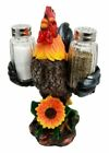 Farm Barnyard Rooster Salt Pepper Shakers Holder Figurine Spice To Crow About