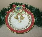 FITZ & FLOYD CHRISTMAS SALAD BOWL - FLORENTINE PATTERN Cranberry/Gold Bow