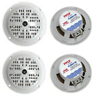 4 PYLE PLMR41W 4 100W Marine Waterproof Boat Car Audio Stereo Speakers White
