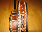 CUSTOM MADE LEATHER GUITAR STRAP WITH YOUR NAME MUSIC NOTES 2 1 2 INCHES WIDE