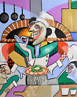 THE PERSONAL SIZE GOURMET PIZZA ORIGINAL PAINTING ITALIAN CHEFS  ANTHONY FALBO