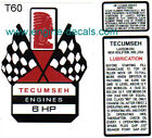 T60 Tecumseh 6hp decal H60 Mini Bike Go Kart Flags