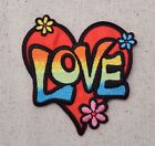 Love Heart Multi Color Flowers 60s Iron on Applique Embroidered Patch