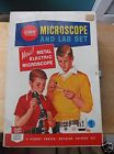 Vintage Gilbert Toy Electric Microscope and Lab Set in Metal Box - Works