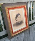 ANTIQUE VICTORIAN HEAVY OLD CARVED GESSO WOOD VELVET PICTURE GLASS FRAME 20 x 16