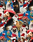 Elizabeth's Studio Holiday Friends 4204 Blue Holiday Dogs BTY Cotton Fabric