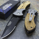 WOOD SPRING ASSISTED TACTICAL POCKET FOLDING KNIFE Blade Open Assist Switch