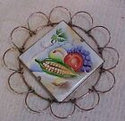 Fujitay Signed Hand Decorated Fruit Vegetable Ceramic Tile Wire Trivet FREE S/H