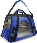 Pet Carrier Soft Sided Small Cat Dog Comfort Sapphire Blue Bag Travel Approved