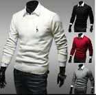Men Casual Slim Fit Crewneck Knitted Cardigan Pullover Jumper Sweater Tops Black