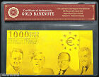 EURO 1000 Gold Banknote Plated With Pure 99.9% 24K Gold With *COA* CERTIFICATE