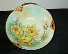 Beautiful Gilded Bowl Signed by  N. Yeatman Yellow Rose and Gold Trim