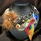 vintage antique jewellery steampunk statement zip pendant charm feather necklace