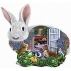 GARDEN BUNNIES by Mary Thompson - 1000 piece SunsOut SHAPED Puzzle - RABBIT  NEW