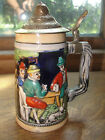Heidelberg Schloss 1960's beer stein, tankard with cover, old, porcelein