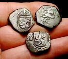 LOT OF 3 PIRATE TREASURE 1600s SPANISH MARAVEDIS COINS! T2