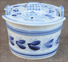 HB Quimper Blue White Churn Shaped Butter Dish with Lid French Faience 1970