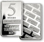 TWO  5 GRAM SILVER BAR .999 FINE SILVER BULLION NWT LOT#1976