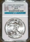 2011 NGC CHRISTMAS LABEL MS 69 25TH ANNIV AMERICAN SILVER EAGLE ONE DOLLAR US