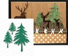 Tree Diecut FIR TREES die cut by IMPRESSION OBSESSION Pine Evergreen Forest die
