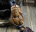 Buddha Quan Kwan-yin Head & Chinese Knot Wood Carved Sculpture Car Pendant WW34
