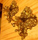 PAIR OF SOLID BRASS CANDLE HOLDER WALL SCONCES 10