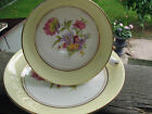 VINTAGE TEA CUP AND SAUCER PHOENIX ENGLAND  YELLOW TRIM & FLOWERS CABINET SET A1