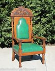 Majestic Gothic Victorian Solid Tiger Oak Throne Library Arm Chair c1900