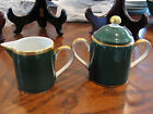 FITZ AND FLOYD RENAISSANCE GREEN CREAMER AND SUGER