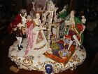 Very Large Dresden Lace Aelteste Volkstedt Porcelain 3 Figures W/ Harp Fireplace
