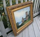 ANTIQUE REVERSE PAINTING VICTORIAN 1800s GOLD Wood Picture Frame HOLDS 20