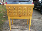 Mid Century Modern Library Card File Holder 15 Drawer On Stand