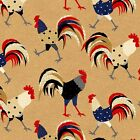 BY 1/2 YD~COCK A DOODLE DOO~HENRY GLASS~RED WHITE BLUE ROOSTERS ON TAN~6257-44