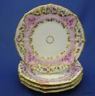 Set of 4 Antique Translucent China Hand Painted Pink & Gold Fruit Desert Plates