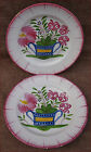 French Faience Flowered Basket  Pair Plates Islettes Strasbourg St Clement 19 C