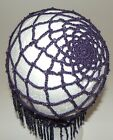 New Plum Purple with Czech Crystal Beads 20's Style Flapper Hat Adult One Size