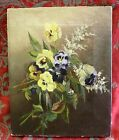 Antique 19th Century Pansy Oil Painting on Canvas Half Lap Strainer