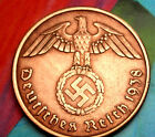 XXX-RARE 1938-A NAZI Swastika 2 Pf Coin/REAL WW2 german COPPER 3rd Reich GERMANY