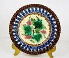Antique Villeroy & Boch Majolica Plate Grapes and Leaves Ca 1870 German 7 3/4