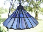 70's Faux Stained Glass *BLUE FAN* Vintage Swag Lamp Retro Hanging Light
