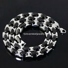 316L Stainless Steel Silver Black Tone Heavy 163g Mens Necklace Chain 21.6inch