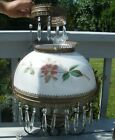 ANTIQUE 1800s HAND PAINTED FLORAL FLOWER PRISM HANGING OIL ELECTRIC LAMP LIGHT