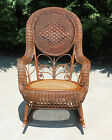 Excellent Victorian Wicker & Cane Rocker w Original Finish Circa Early 1900's