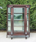 American Empire Mahogany Bow Front China Cabinet w C Scroll Feet w Key~ c1900