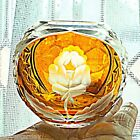 vintage JULIA signed POLISH Floral Cut Glass Crystal Yellow Gold ROSE Bowl